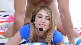 A blonde gamer girl is getting fucked by her brother