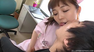 Adorable nurse Mizutori Fumino treats her patient by sucking his cock
