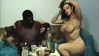 Gorgeous sexy dark skin brunette with hairy pussy enjoys sex