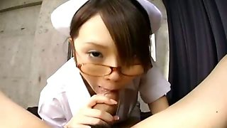 Busty Japanese nurse gives a hot blowjob and handjob in POV
