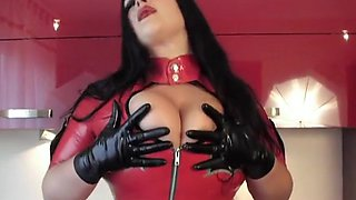 Kitchen Blowjob Handjob with Latex Gloves - Lady dressed in latex uniform Boots - Cum in my Mouth