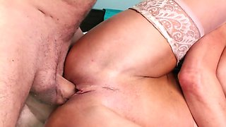 Mother in white stocking wants his cock and she wants it now