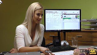 LOAN4K. Blonde student girl spreads her legs for a rude credit agent