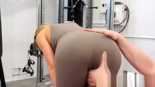 Sexy blonde MILF gets fucked in gym