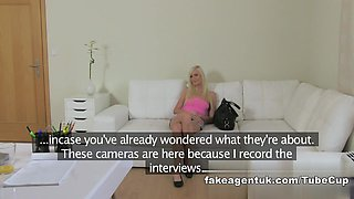 Blonde sexy Czech girl squirts all over agents cock