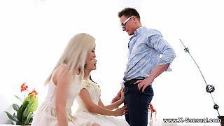 This lovely teen bride gets the best service ever from a