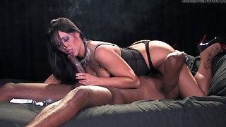 Beautiful Brunette Smoking Black Cock