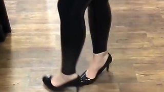 Lycaena walking around in latex leggings and high heels