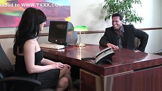 Naughty chubby secretary pleasures her horny hung boss