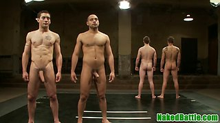 wrestling stud rimmed during threesome