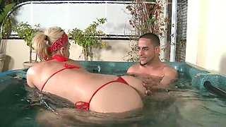 Blond hot babe fucked in the pool