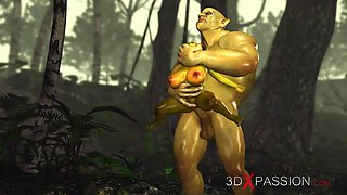 Horny female goblin Arwen and Green monster Ogre in the enchanted forest
