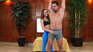 This sexy couple instead of doing the exercises have sex