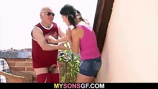 Guy finds cheating GF riding oldman dick