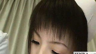Subtitled CFNM Japanese nurses tender penis inspection