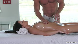 Latina receives much more than just a simple massage