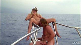 Alluring blonde slut Stormy Daniels banged on the yacht