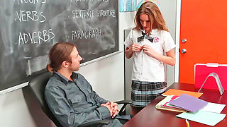 Hot schoolgirl fucks her teacher so she could pass the class
