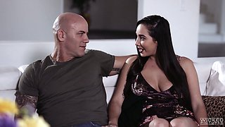 Insatiable wife Karlee Grey is cheating on her husband with brutal bald headed lover