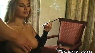 appealing babe smoking extreme hard 1