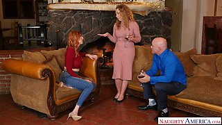 Jaw dropping red head Lauren Phillips seduces husband of her best girlfriend