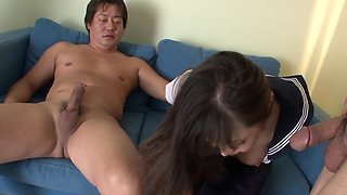 Japanese schoolgirl has a mouthful of cocks and needs to make them cum