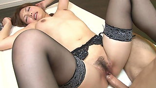 Japanese slut in stockings gets hard fuck and cream pie