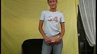 blonde teen Virginie first porno casting