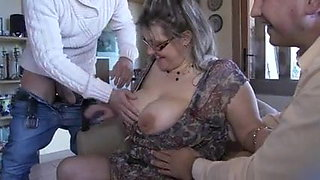 French mature Julia gangbanged in stockings