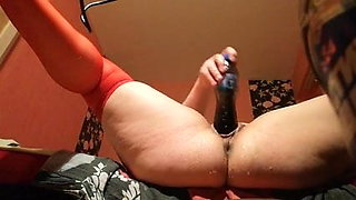 Horny nurse masturbate with bottle and squirt