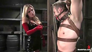 amazing bondage clip for a guy with his smoking hot mistress