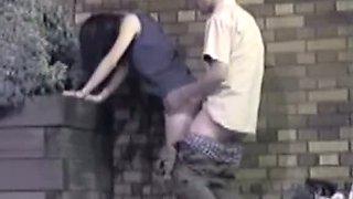 Petite asian brunette fucks on a hidden street cam