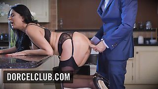 Anal sex with a sexy busty brunette in lingerie DORCELCLUB