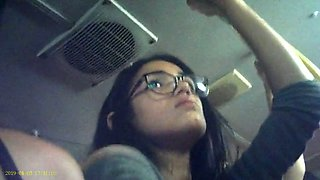 Candid voyeur of latino woman&#039s armpit on bus