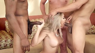 Two black guys and white one fuck hard two blonde beauties