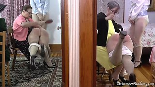 College life 6. Girls spanked with hairbrush, panties down to the knees