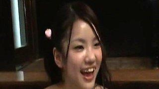 Subtitled Japanese schoolgirl bathhouse with older man