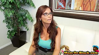 Smoking hot secretary is getting double penetrated by two black hunks in the office