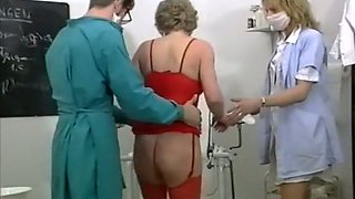 Blonde mature lady wants to have wicked threesome in the gyno's office