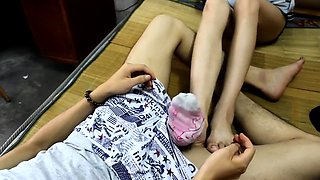Slim amateur brunette reveals her amazing footjob talents
