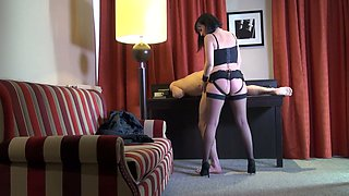 Svelte French nympho Mya Lorenn rides her submissive dude's dick