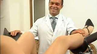 Male gynecologist examines hairy pussy of a gorgeous blonde girl