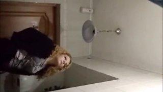 Russian girl toilet happy