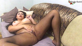 Brunette in Pantyhose Play Pussy - Solo