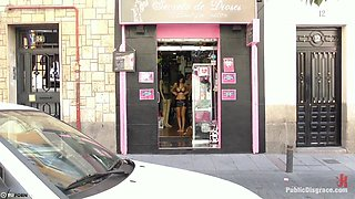 Nudists Fetish. Naked Girl Loves Bdsm And Show Her Naked Body On The Street