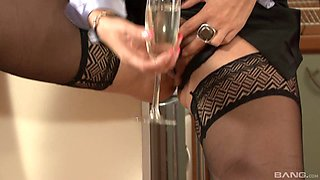 Two enthralling chicks are about to ride the dick one after another