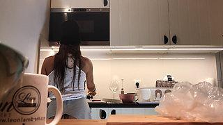 Hidden Camera Voyeur, No Panties Amateur Brunette in Kitchen