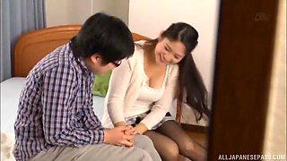 Brunette girl Meguri gets to slurp on a long delicious dick