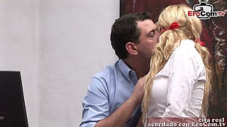 spanish secretary blonde milf fuck in office with the boss