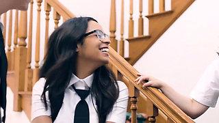 Stepsiblings tag team an innocent virgin schoolgirl